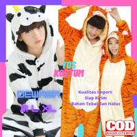 Kostum Dewasa Impor Baju Animal Onesie Cosplay Lucu Sapi Tiger