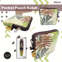 Pocket Pouch Tas Dompet mini Kanvas Kotak