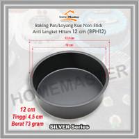 Baking Pan/Loyang Kue Bolu Bulat Non Stick Anti Lengket Hitam 12 Cm