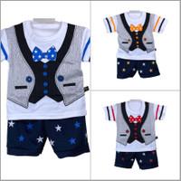 Setelan Baju Anak Bayi Laki Dasi Kupu Usia 0-12 Bulan