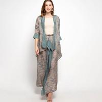 Nayara Batik Outer set hijau Indira Gt / Kaftan Set / Baju Batik pesta