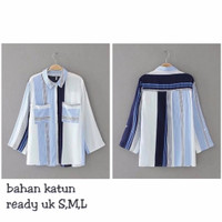 Kemeja Lengan Panjang Wanita Garis Garis Katun Import Biru/26693 Shirt