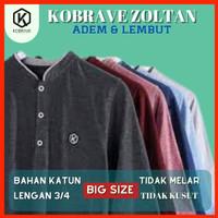 Baju Koko Kobrave Zoltan Lengan 3/4 Pria Big Size Jumbo Bahan Katun