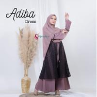 Gamis Wanita Muslim Terbaru 2021 Mix Brokat Halus Long Dress Adiba