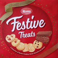 ROMA Festive Treats biskuit, cookies, dan wafer Roma kaleng 765 gr