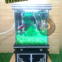 aquarium mini full set + kabinet free pasir / batu hias
