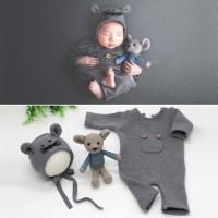 3 in 1 Set Newborn Baby Photo Baju Bayi Knit Foto Photography Boneka
