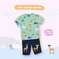 baju setelan anak winter animal / set anak beruang baju anak cewe cowo
