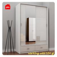 Lemari Pakaian sliding PRO DESIGN putih cermin WARKING WDSL 150 GL