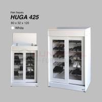 Rak Sepatu HUGA 425 Putih Pintu Sliding Kaca - Free Ongkir Jabodetabek