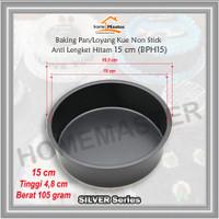 Baking Pan/Loyang Kue Bolu Bulat Non Stick Anti Lengket Hitam 15 Cm