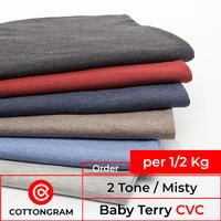 Kain Baby Terry CVC Bahan Sweater Hoodie per 1/2 Kilo Misty 2Tone