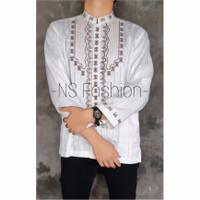 Baju koko Muslim Size M L XL Lengan Panjang Semi Sutra Putih Anwarul - Putih, M
