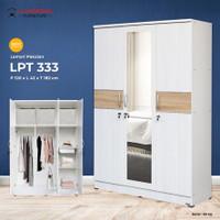 Lemari Pakaian 3 Pintu Cermin Putih LUNAR LPT 333 - PROMO