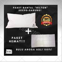 Paket 1 Bantal bulu angsa asli 50cm x 90cm + Sarung bantal uk 50 x90cm