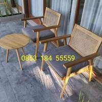 Kursi Teras Jati Meja Sofa Rotan Bangku Taman Minimalis Cafe Resto