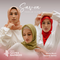 SAVRA Bamboo Hijab Jilbab Kerudung Segi Empat Polos Premium