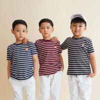 Striped Tee by Little Jergio|Kaos Salur Anak - Anak Maroon Navy Hitam
