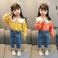 Setelan baju anak / pakaian perempuan / lengan panjang / jeans / murah - Merah Muda, S