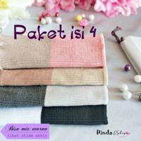 Bandana rajut 2 warna paket isi 4   inner/ciput/dalaman hijab
