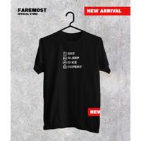 Faremost - Kaos Distro Pria / T-shirt Disto/ Premium/EAT SLEEP F-065
