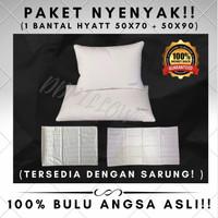 Paket 1 Bantal Bulu Angsa Asli Hotel Hyatt Bintang 5 Uk 50x70 + 50x90 - Polos