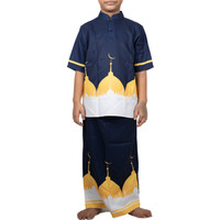 Baju Koko Anak Yellow Navy Mosque