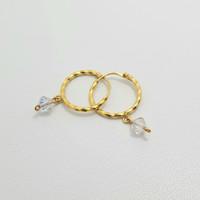 Anting Ring Anak Emas Muda Bandul Kristal Putih 1/2 Gram