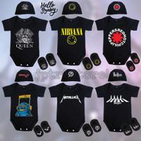 Baju Jumper Bayi Newborn Topi Dan Sepatu Karakter Musik Band Rock