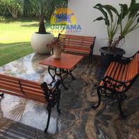 Kursi Meja Taman Besi cor 1 set bangku kayu MURAH + ongkir - Cokelat
