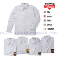 Baju Kemeja SD SMP MTs SMA Polos Putih Lengan Panjang Seragam Sekolah