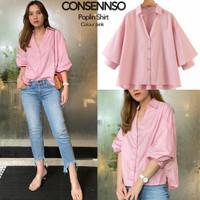 Blouse Wanita Consensso Poplin Shirt Warna Pink (BL0104PK)