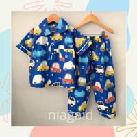 Piyama Baju Tidur Pajamas Anak Laki Laki Mobil Biru 2 3 4 5 6 7 Tahun