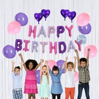 Paket Dekorasi Ulang Tahun Happy Birthday Tema Pink Silver
