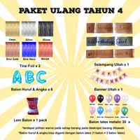 Paket Ulang Tahun 4 / Paket Balon Ultah 4 / Paket Balon Huruf & Angka