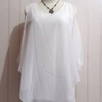 baju atasan wanita tanpa lengan warna putih preloved / thrift