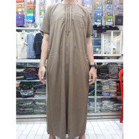 Baju Muslim Pria gamis ikaf lengan pendek jubah arab ikaf katun ori