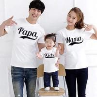 baju kaos couple pasangan keluarga ayah ibu anak 3in1 putih pamakids