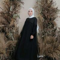 Baju gamis wanita terbaru kekinian murah mix tille renda Zoya dress