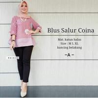 Blouse Batik Baju Kerja Kantor Wanita Hijaber Lengan 7/8 Batik Modern