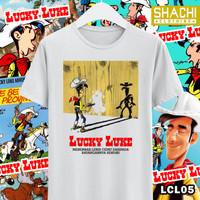 Kaos Baju Lucky Luke Komik Jadul B - White Premium 24s NSA