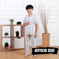 Piyama Anak Cowok Baju Tidur Premium Vertical Blue Usia 1-9 Tahun