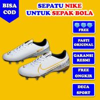 Sepatu Sepak Bola Nike Sepatu Olahraga Pria Sepatu Bola Nike DS032 - Putih List Emas, 39