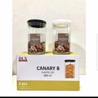 Toples Kaca Canary B Ukuran 880ml (Set 6 pcs) - Hitam+Putih
