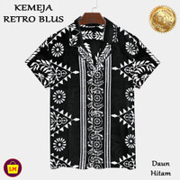LM 22443 - 22449 Baju Atasan Kemeja Wanita RETRO BLUS Motif Daun