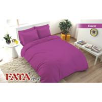 Full Set Bedcover Fata Polos Emboss Queen 160 Karet Warna Clover Ungu