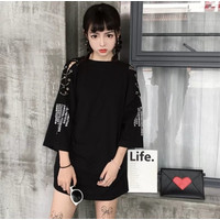 Fashion Baju Atasan Mini Dress Casual Dress Wanita Korea Oversize
