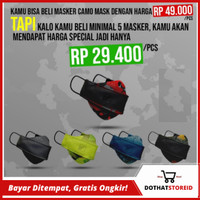 Masker Kain premium Camomask Camo Mask by Kiral 3ply Breathable Tebal