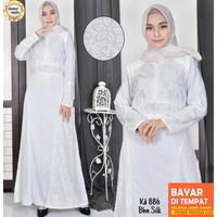 Baju Gamis Putih Lebaran Umroh Haji / Baju Busana Muslim Wanita # 910