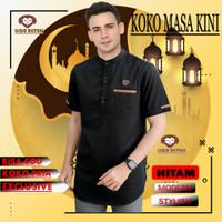 Baju Koko Kurta Nibras gamis pria muslim modern premium toyobo - M, Hitam